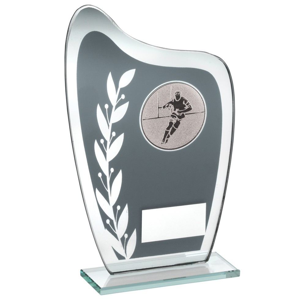 16.5cm Grey & Silver Glass Plaque With Rugby Insert Trophy - 6.5In