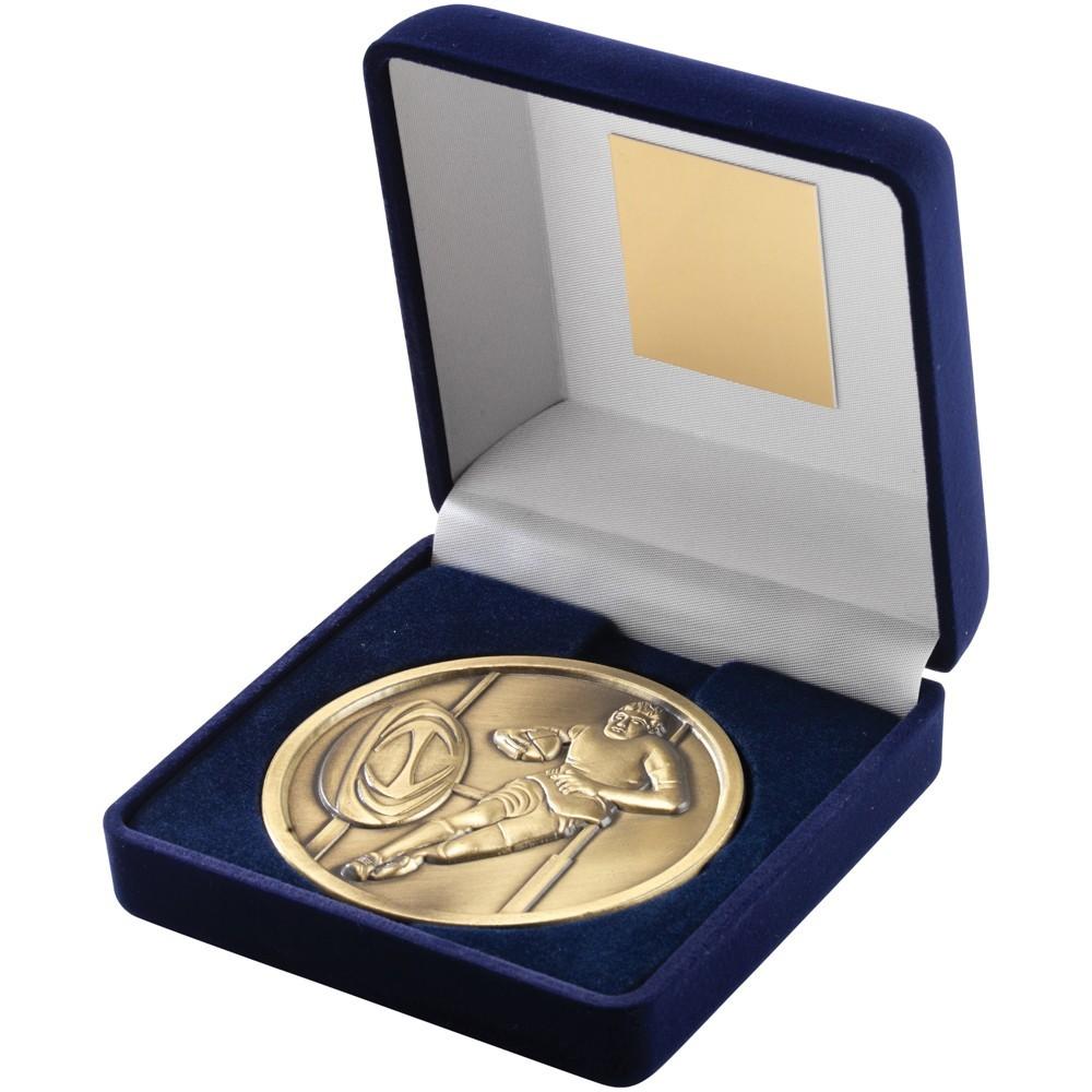 Blue Velvet Box With Rugby Medal