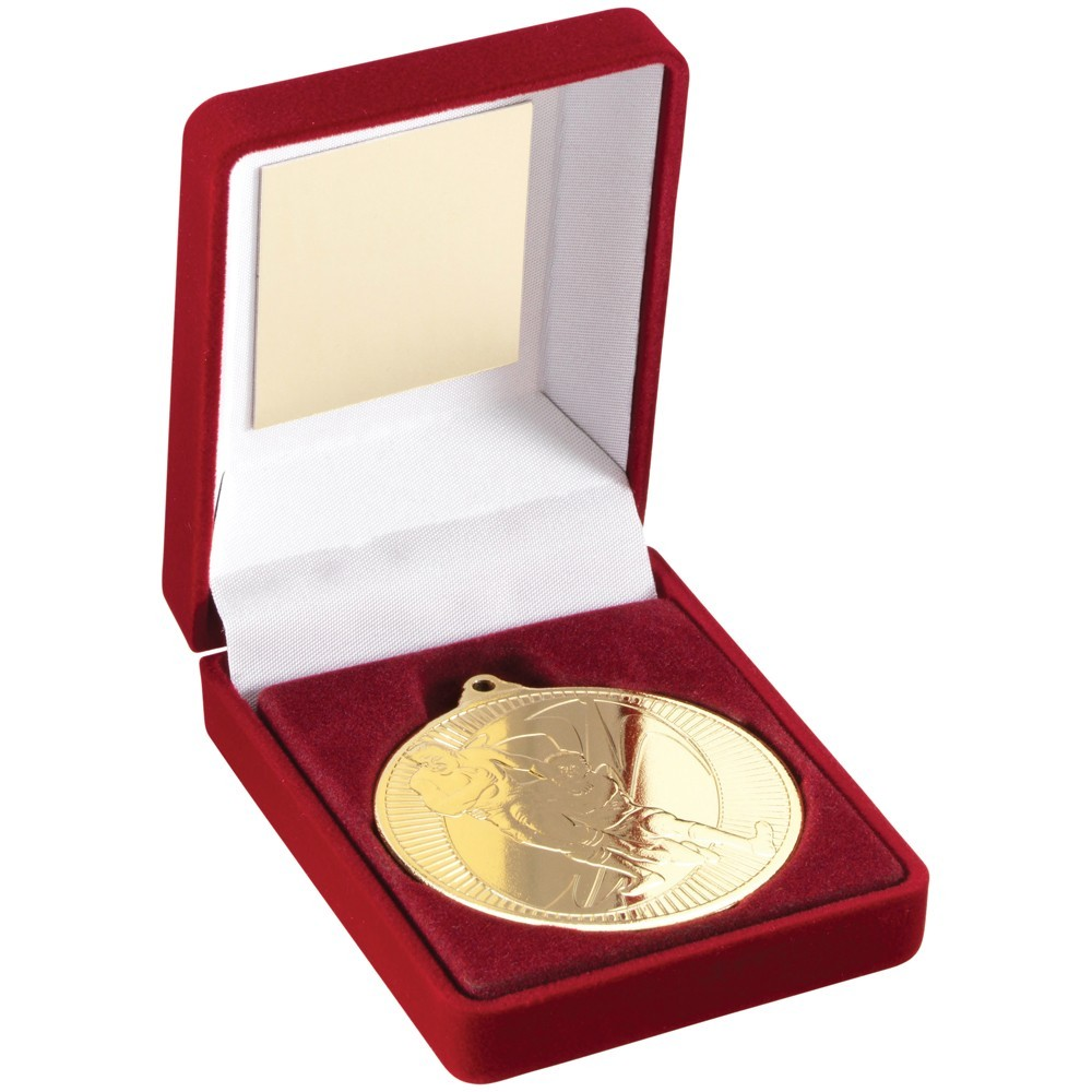 9cm Red Velvet Box & Rugby Medal - Gold 3.5In