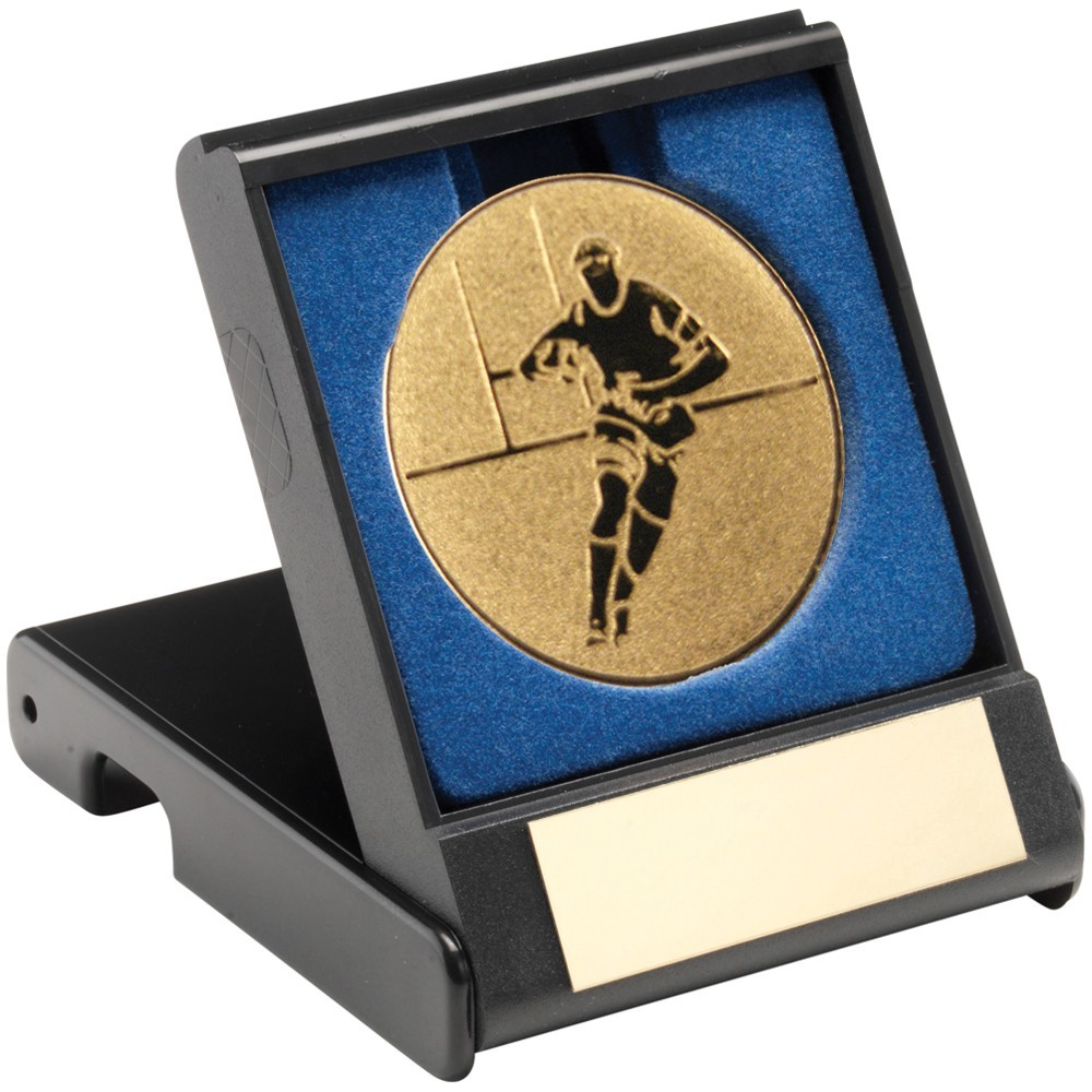 9cm Black Plastic Box With Rugby Insert Trophy