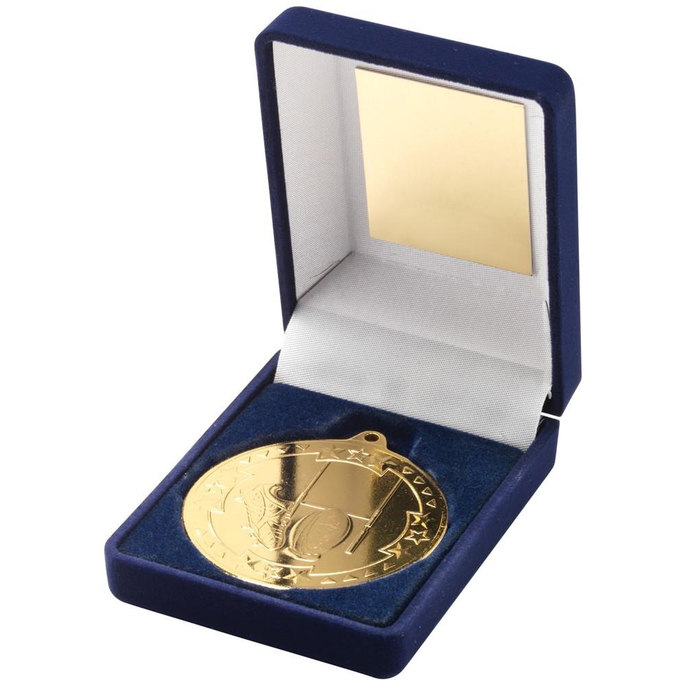 9cm Blue Velvet Box & Rugby Medal - Gold 3.5In