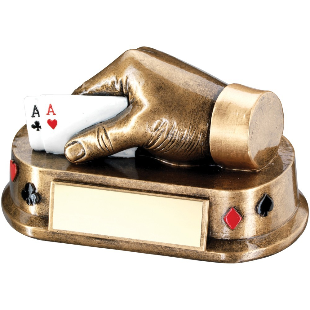 14cm Bronze & Gold & Multi Cards Hand Trophy - 3 X 5.5In