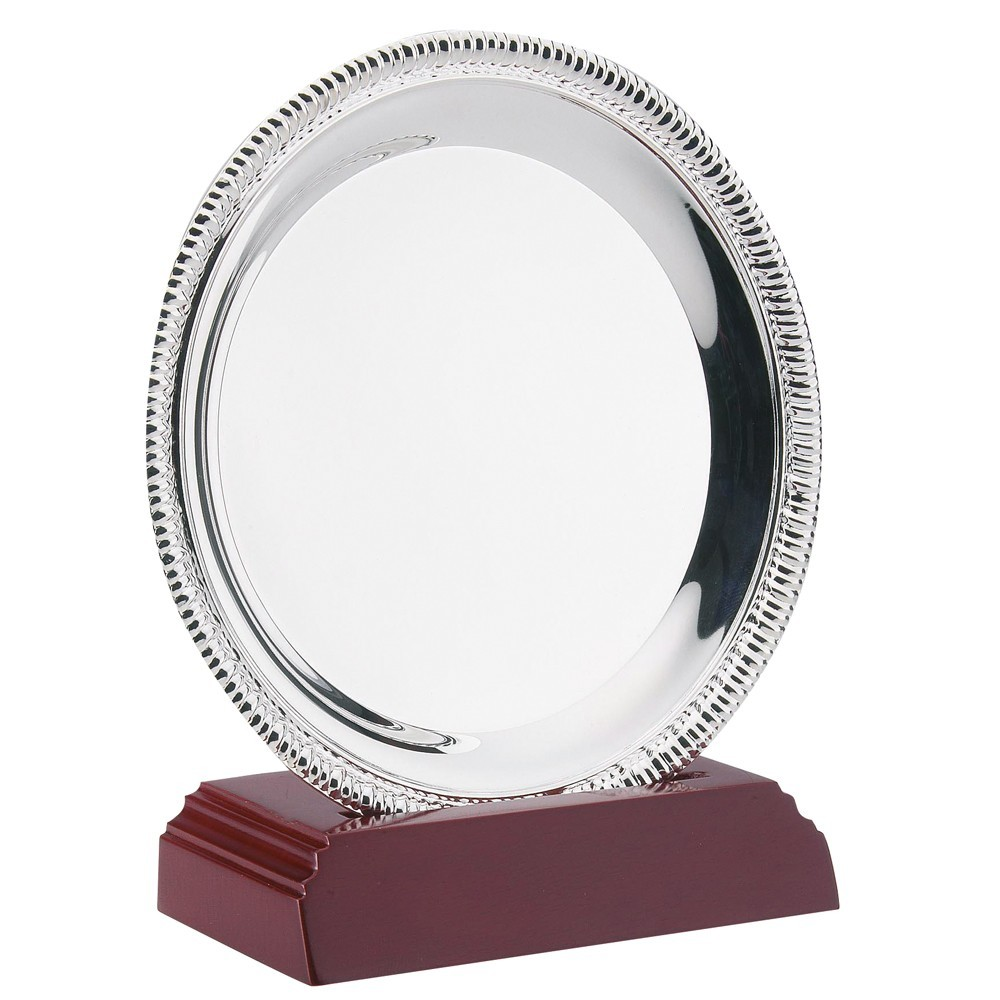 11.5cm Silver Plated 'Rope' Salver On Wooden Stand - 4.5In