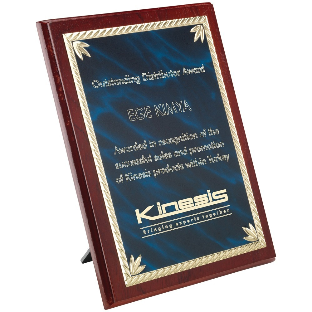 15.5cm Rosewood Plaque With Blue & Gold Aluminium Front