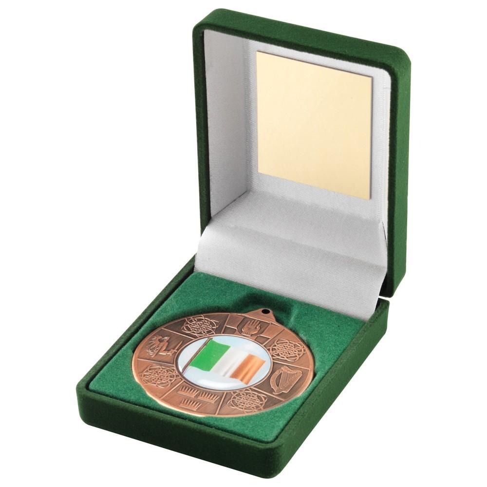 Green Velvet Box With  Four Provinces Medal