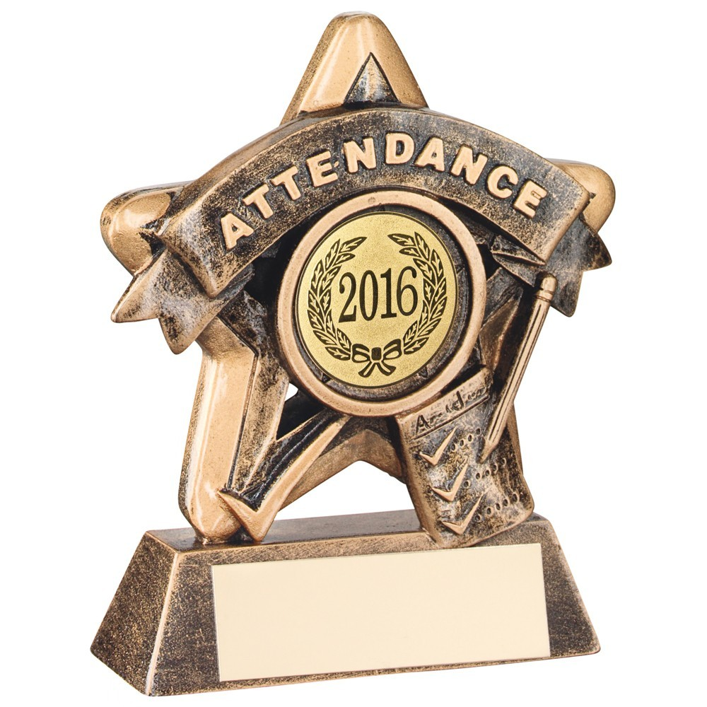 Superb Bronze and Gold Attendance Mini Star Trophy
