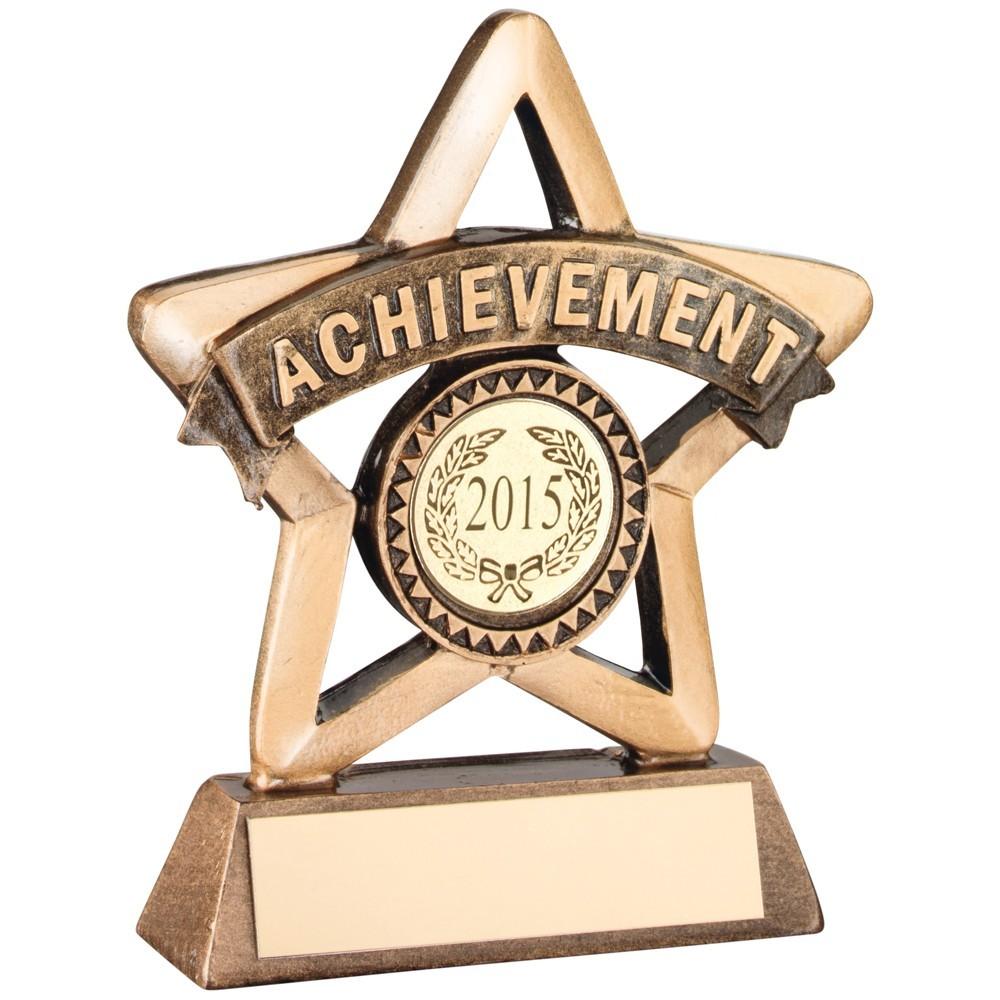 9.5cm Bronze & Gold Resin 'Achievement' Mini Star Trophy
