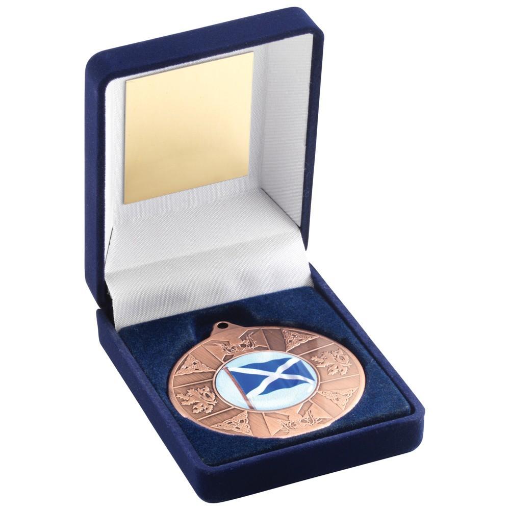 Blue Velvet Box With Scotland Medal