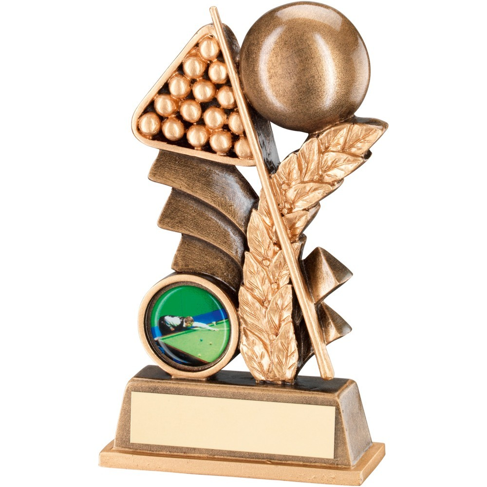 Bronze And Gold Pool And Snooker Leaf Plaque Trophy