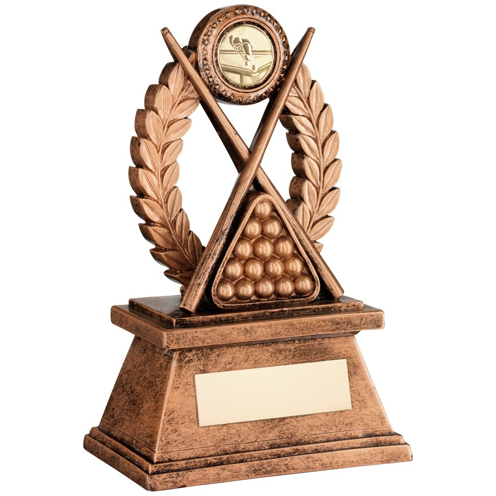 Bronze And Gold 'Pool And Snooker' Oval Wreath Trophy