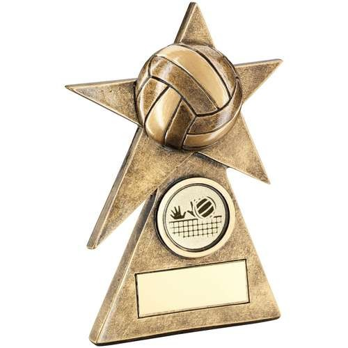 Brz/Gold Volleyball Star On Pyramid Base Trophy - 4inch