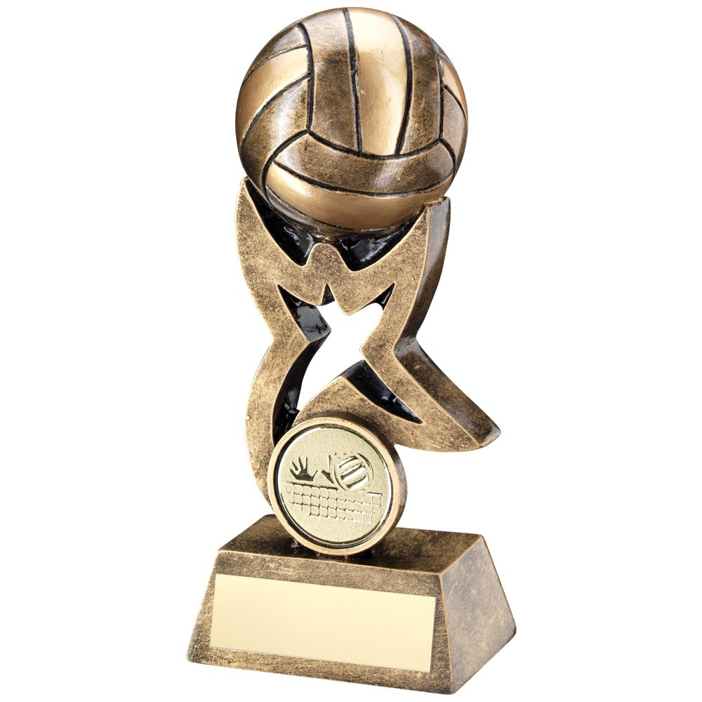 10.5cm Bronze & Gold Volleyball On Star Trophy Riser Trophy