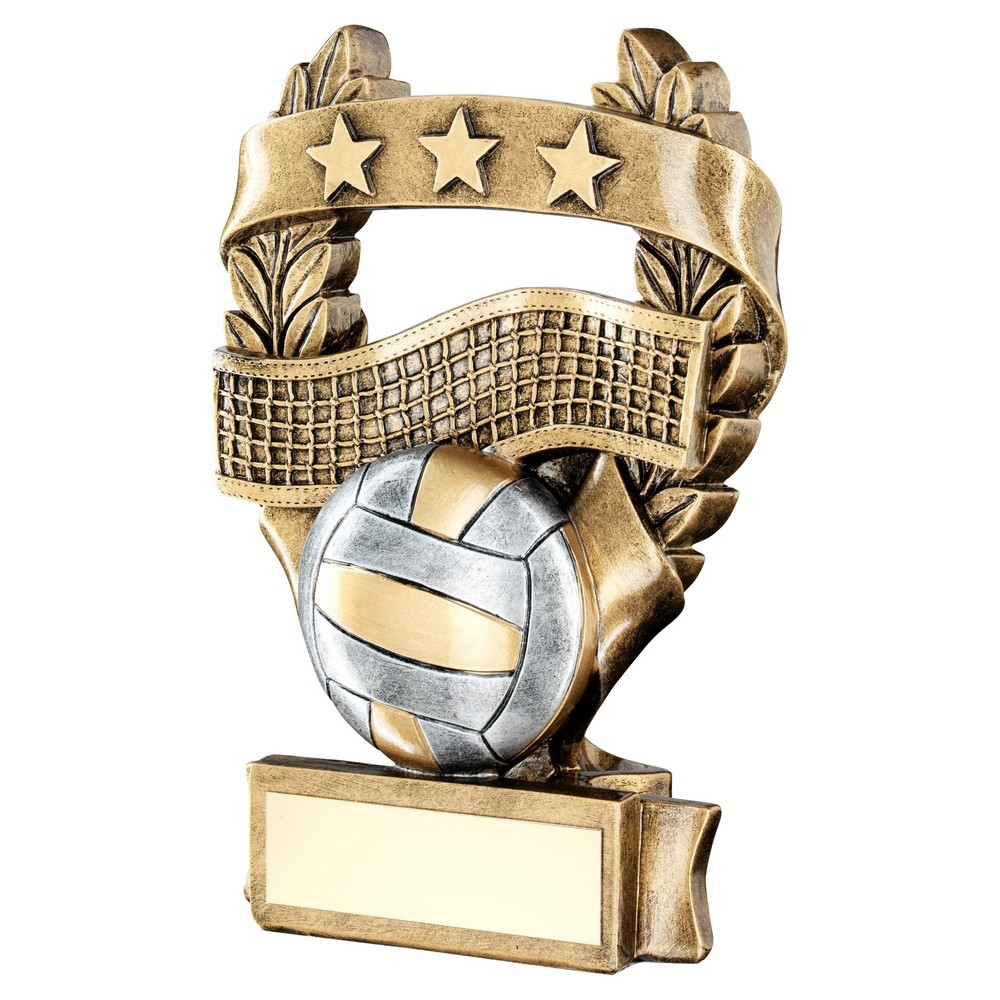 Brz/Pew/Gold Volleyball 3 Star Wreath Award Trophy - 3 Sizes