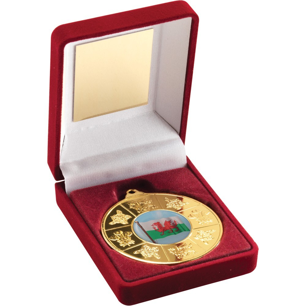 Red Velvet Box With Medal Wales Trophy