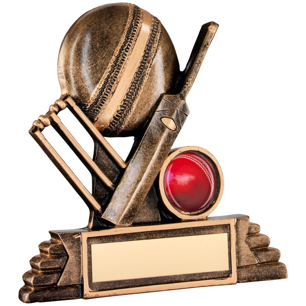 Bronze And Gold Resin Cricket Trophy