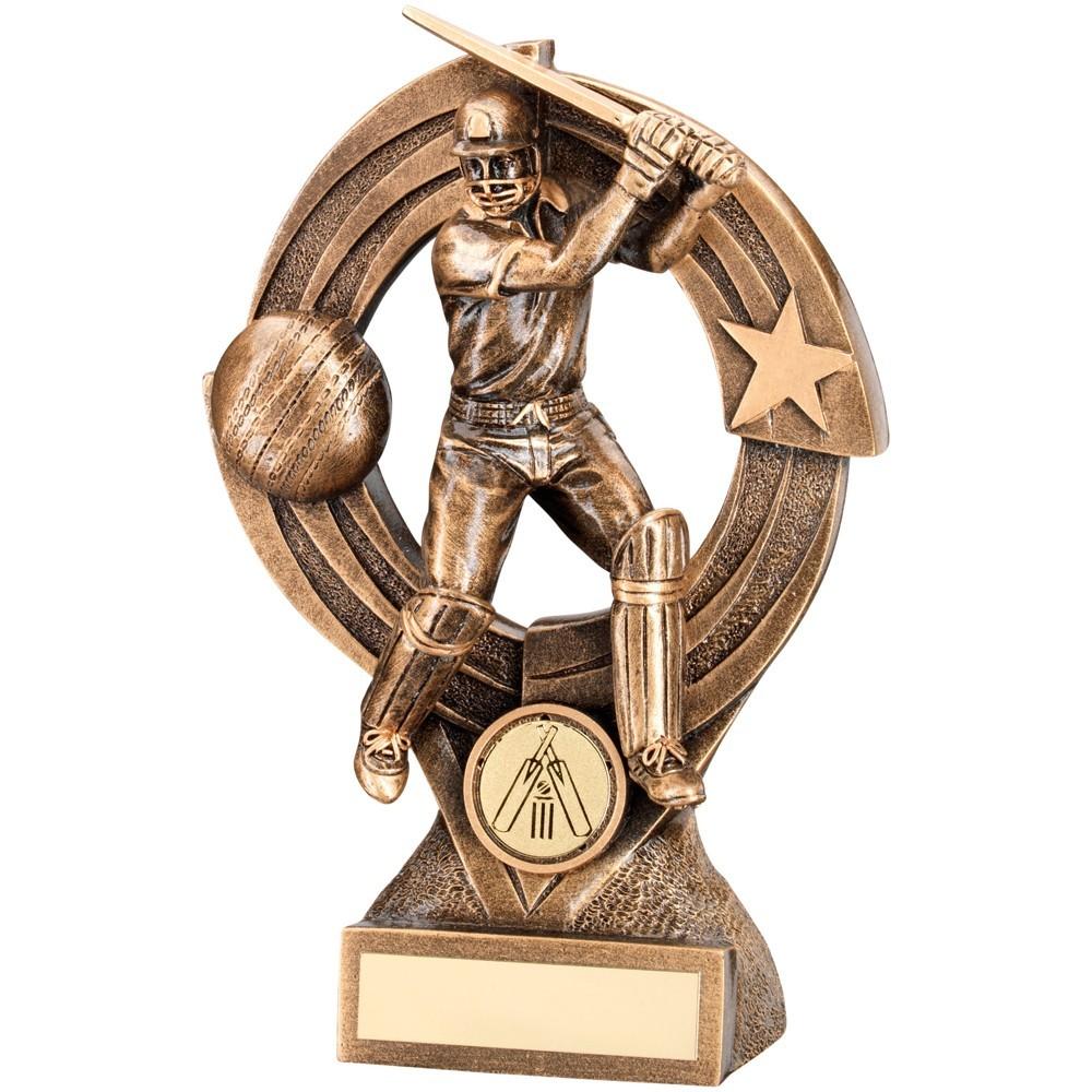 Bronze And Gold Cricket Batsman 'Quartz' Figure Trophy