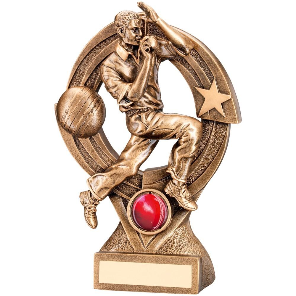 21cm Bronze & Gold Cricket Bowler 'Quartz' Figure Trophy