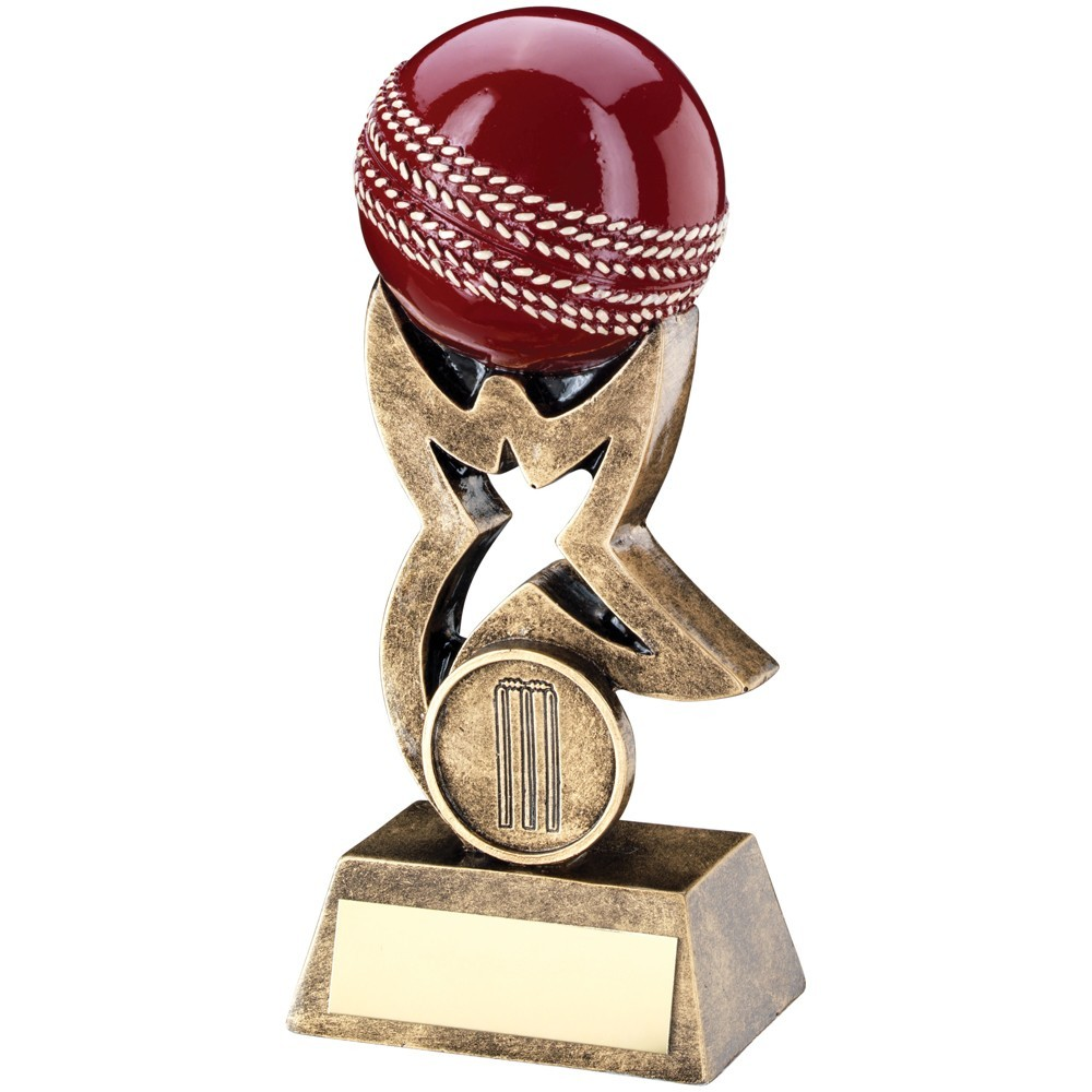 10.5cm Bronze & Gold & Red Cricket Ball On Star Riser Trophy