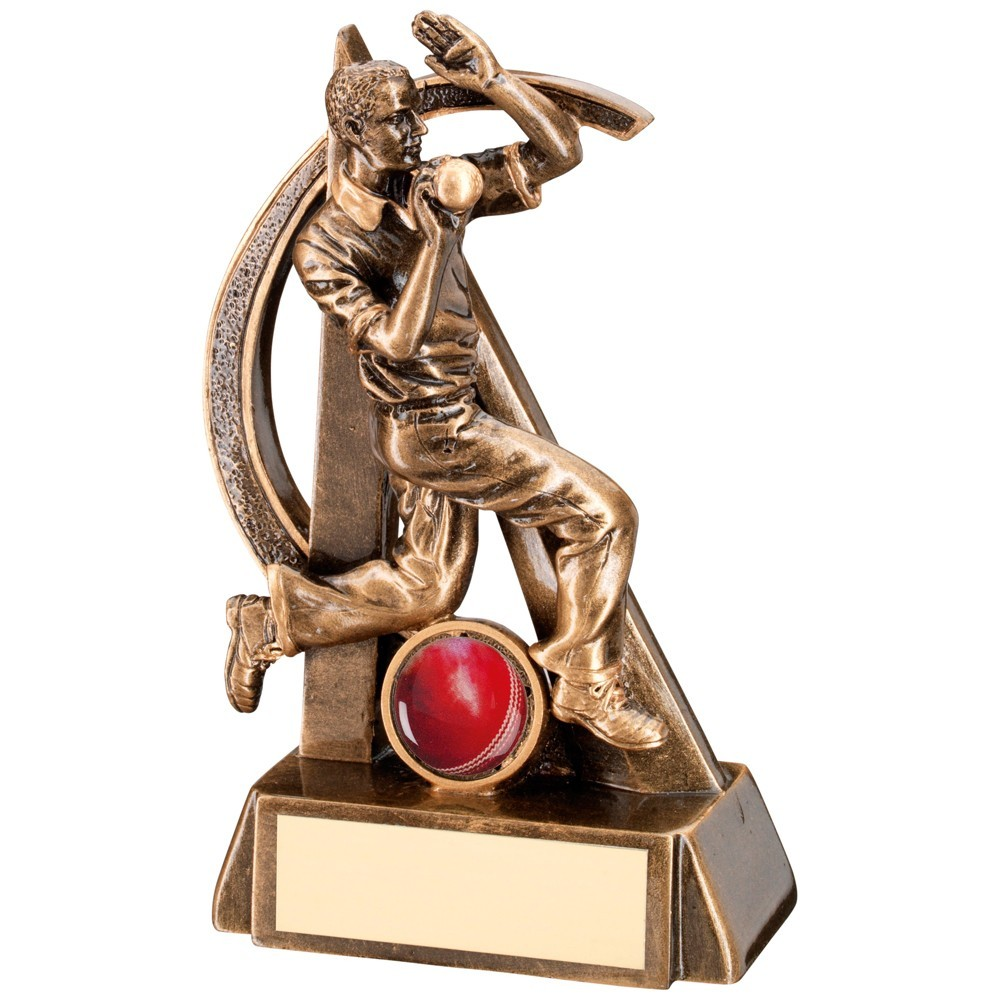 Bronze And Gold Cricket Bowler Geo Figure Trophy
