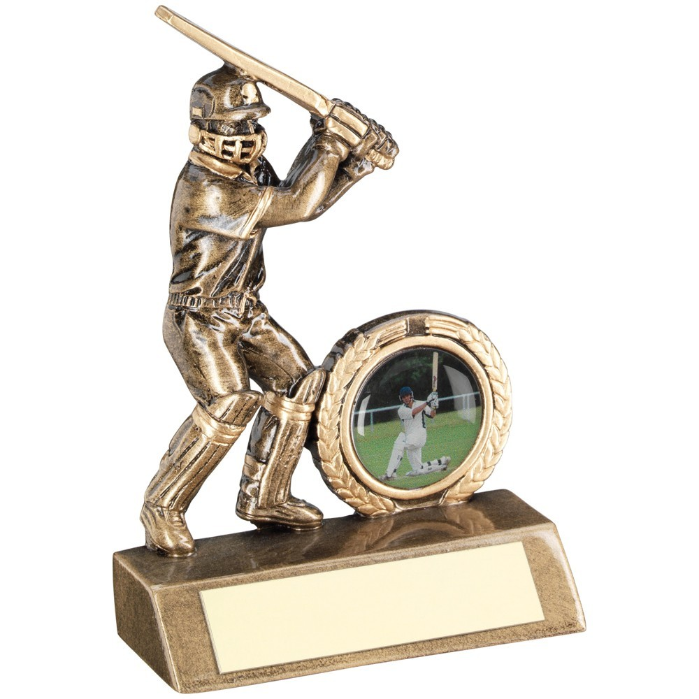 10.5cm Bronze & Gold Mini Cricket Batsman Trophy