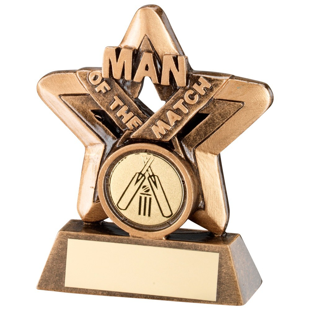 9.5cm Bronze & Gold Man Of The Match Mini Star Rugby Trophy