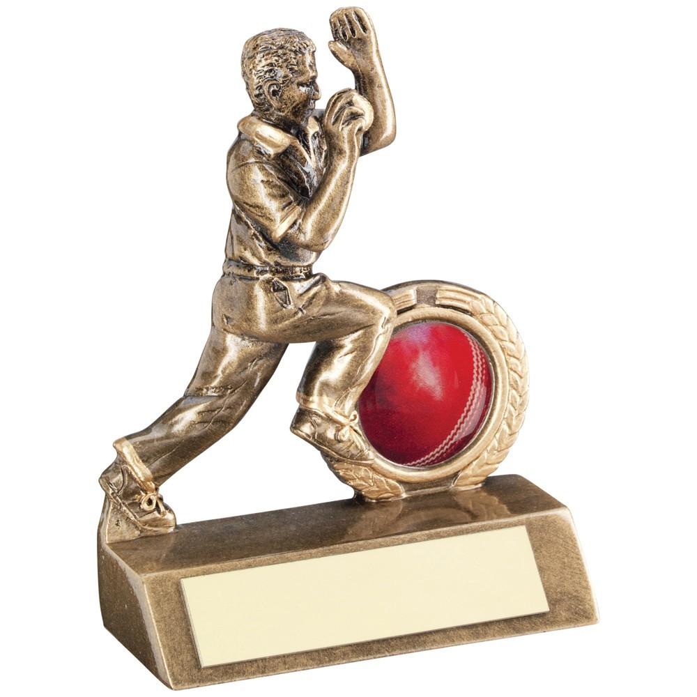9.5cm Bronze & Gold Mini Cricket Bowler Trophy