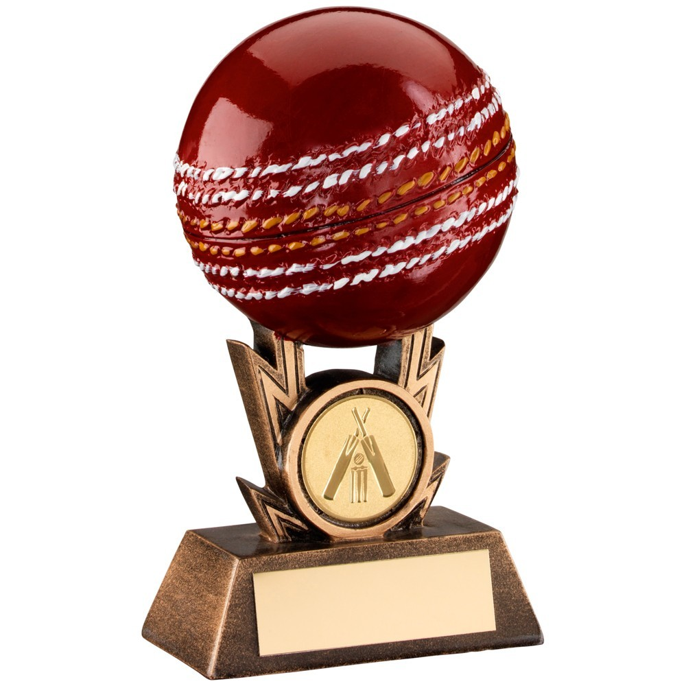 Bronze, Gold And Red Cricket On Strikes Trophy
