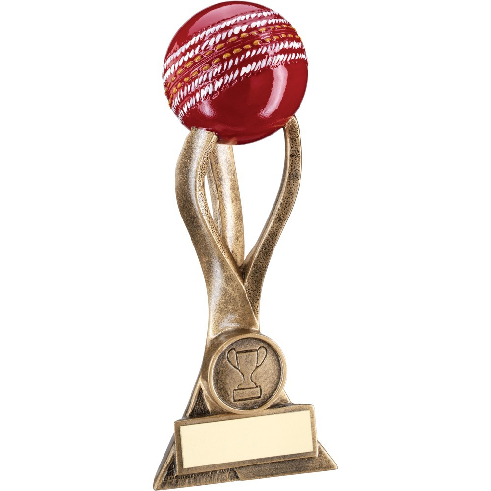 Bronze And Gold Cricket Ball On 3 Pronged Riser Trophy