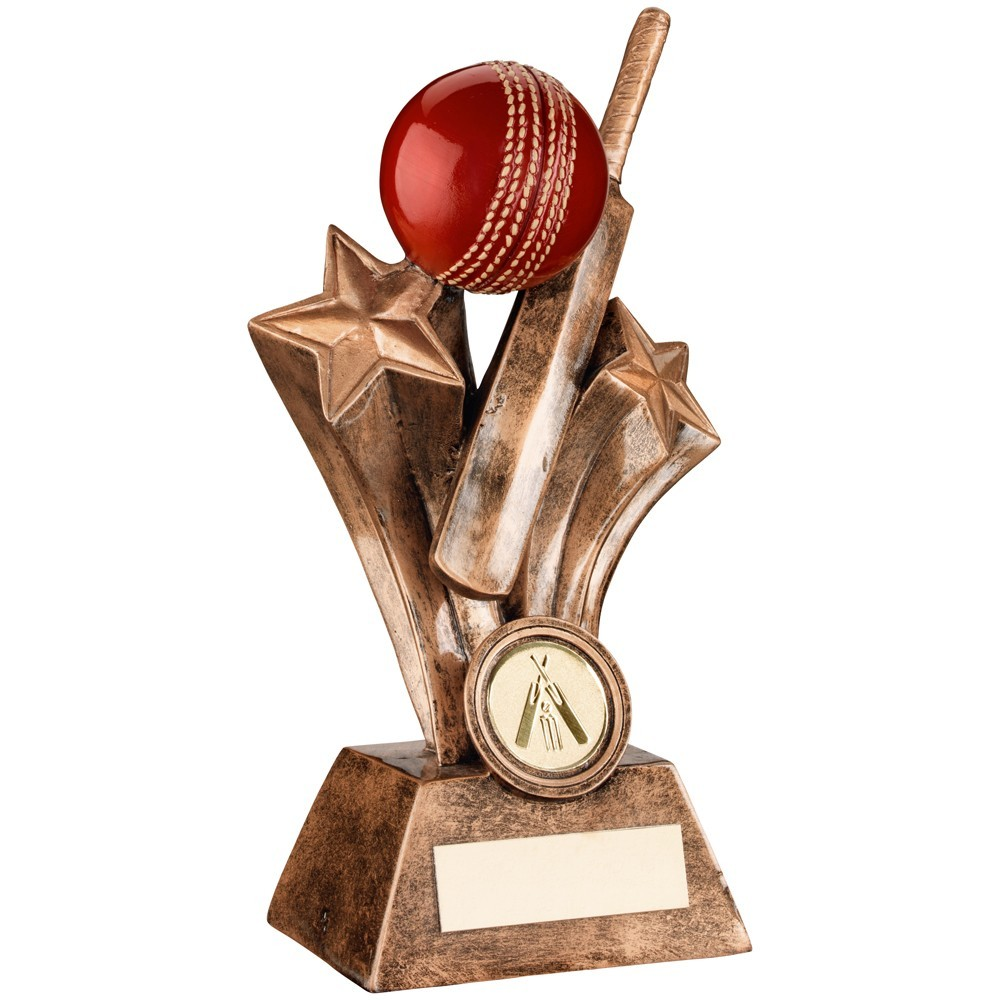 Bronze, Gold And Red Resin Cricket Bat With Ball Trophy
