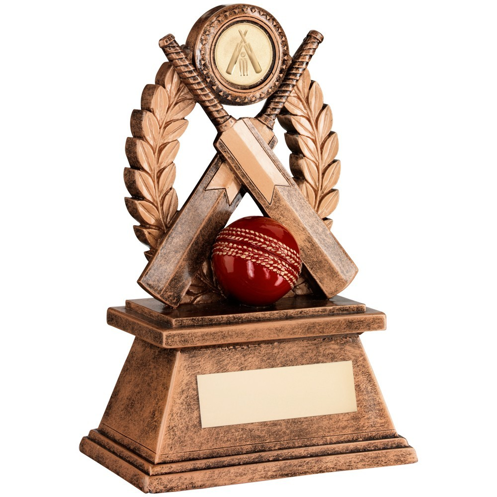 Bronze And Gold 'Cricket' Oval Wreath Trophy