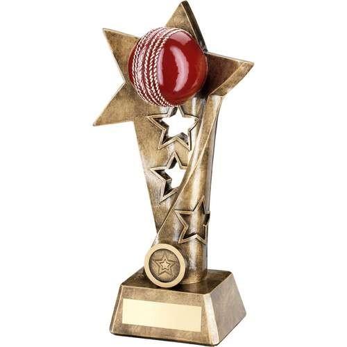 19cm Brz/Gold/Red Cricket Twisted Star Column Trophy