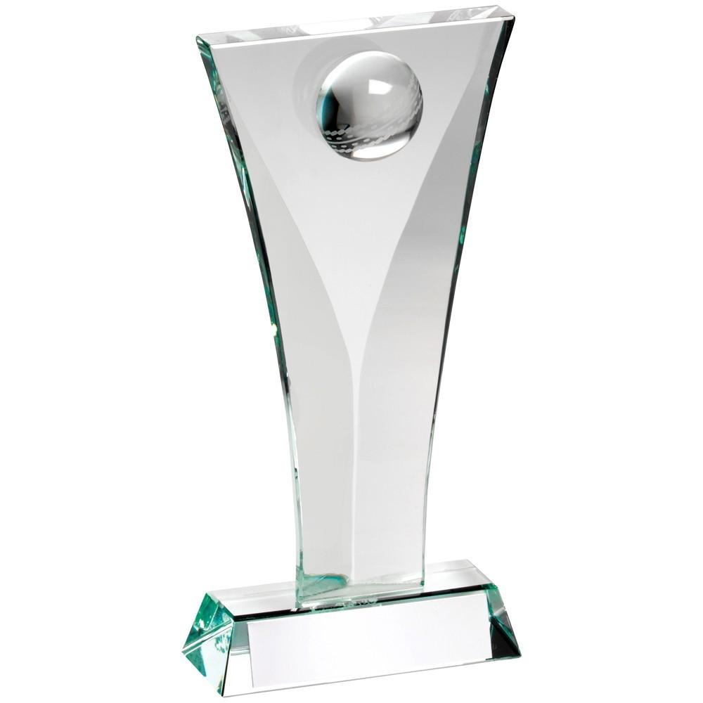 Jade Glass Cricket Plaque Trophy