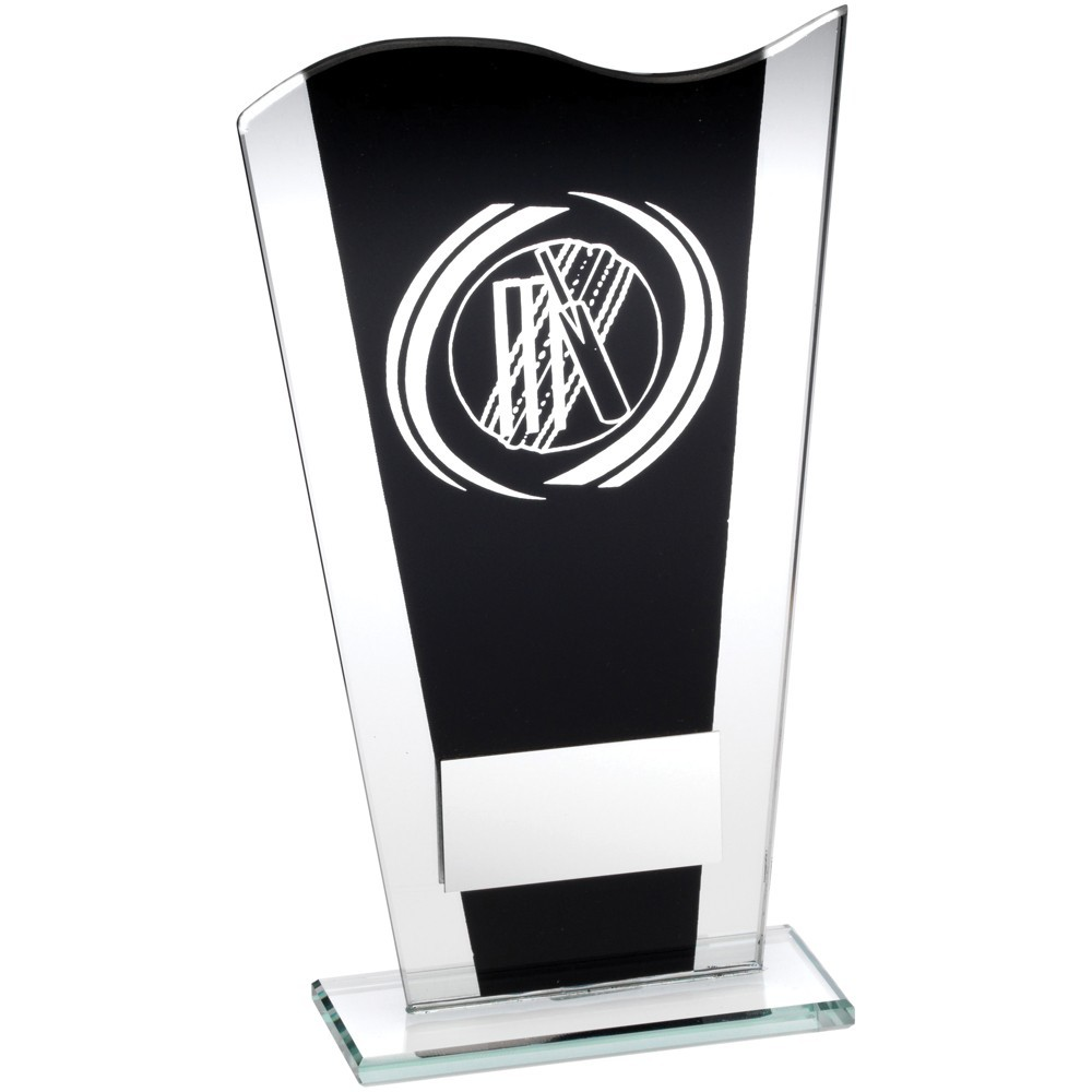 Black And Silver Printed Glass Plaque With Silver Cricket Swirl Trophy