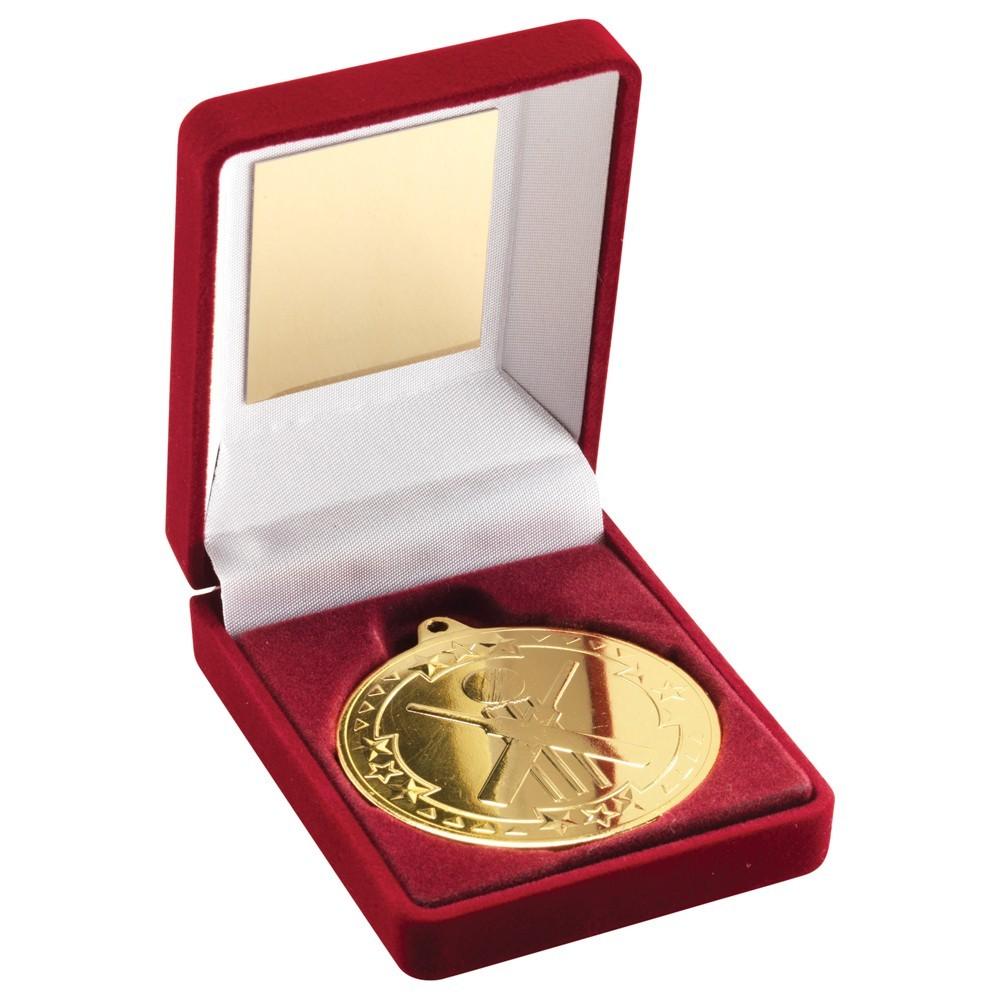 9cm Red Velvet Box & Cricket Medal - Gold 3.5In