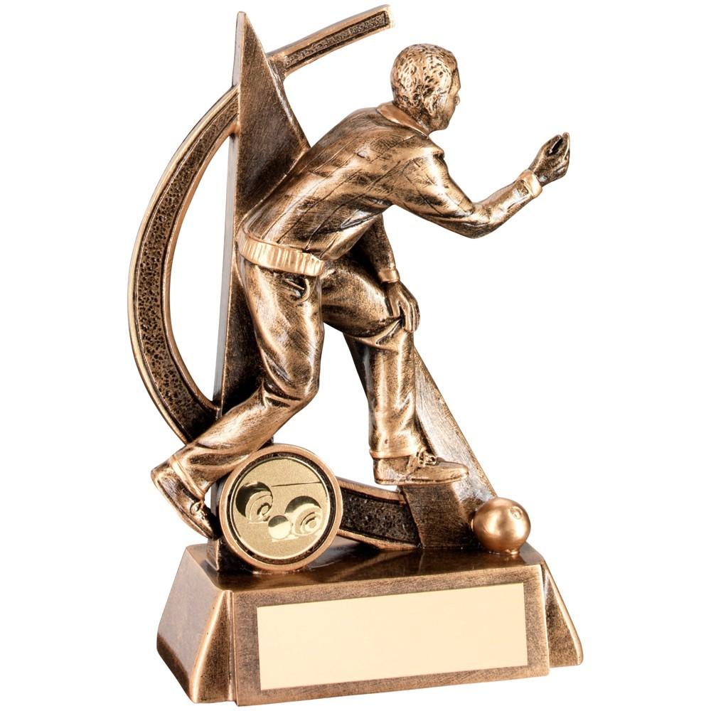 14.5cm Bronze & Gold Male Lawn Bowls Geo Figure Trophy - 5.75In