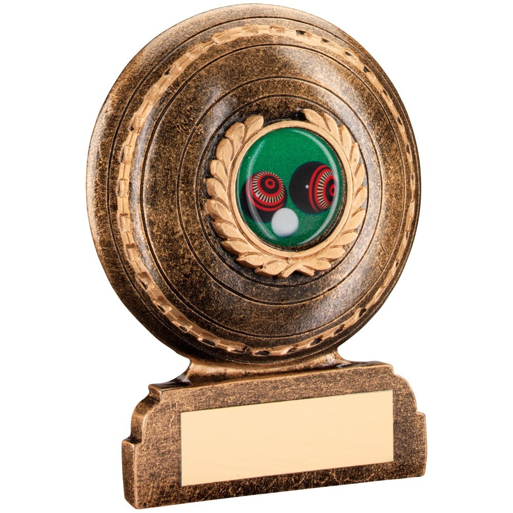 Bronze And Gold Resin Lawn Bowls Trophy
