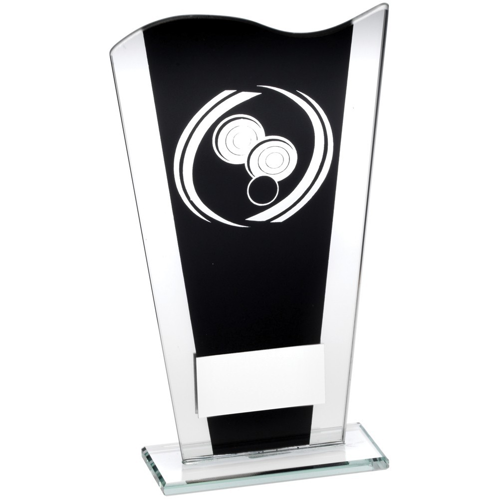 Black And Silver Printed Glass Plaque With Silver Lawn Bowls Swirl Trophy