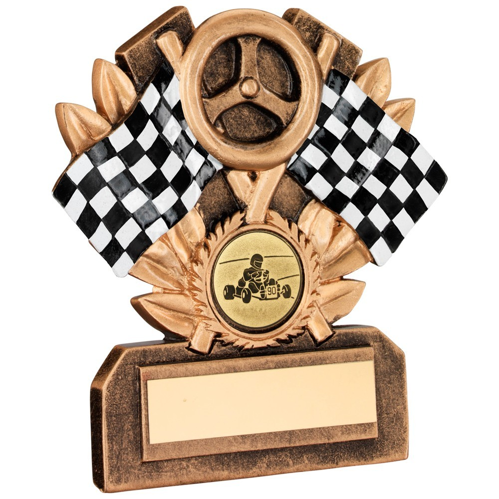 Bronze And Gold/Blk/White Resin Motor Sport Trophy