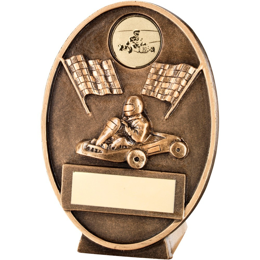 Bronze And Gold Go Kart  With  Flags Oval Plaque Trophy