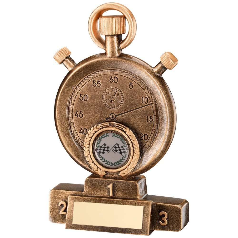 Bronze & Gold Stopwatch On Podium Motor Sport Trophy - 5.25In