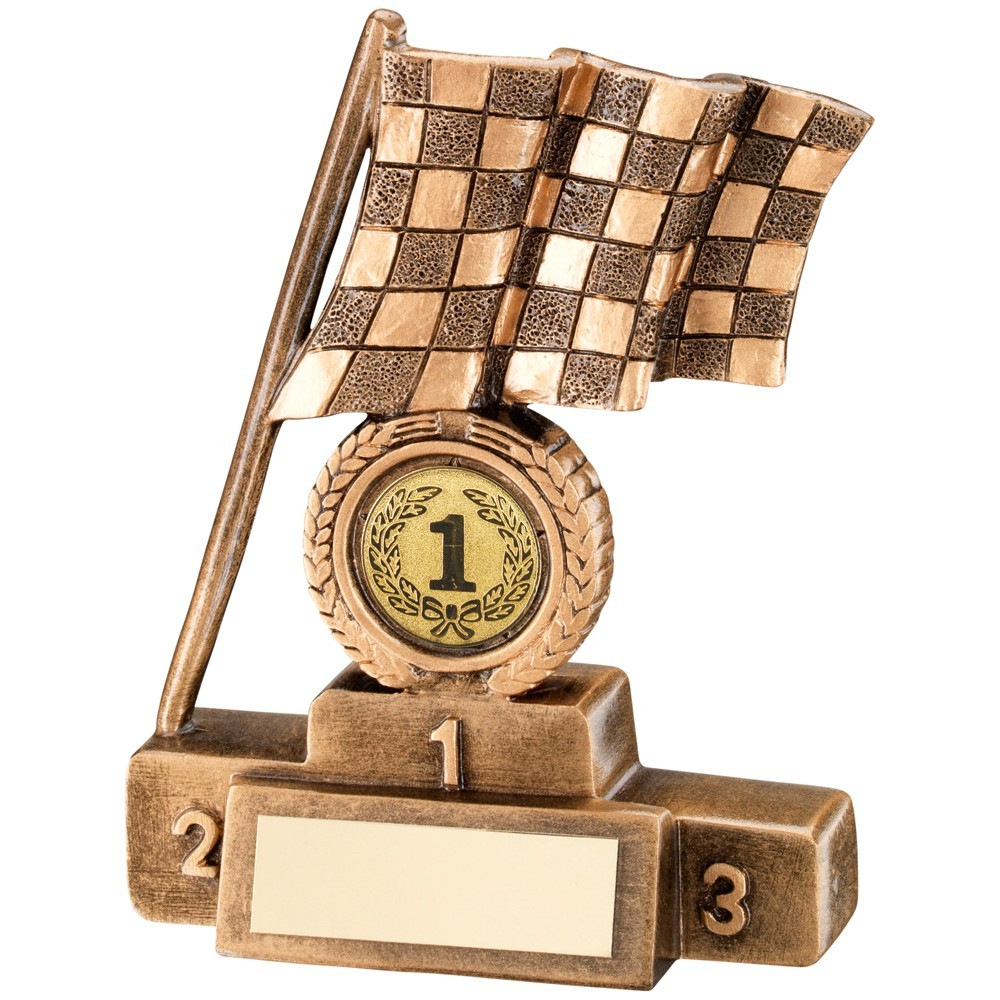 Bronze And Gold Chequered Flag  With  Podium Trophy