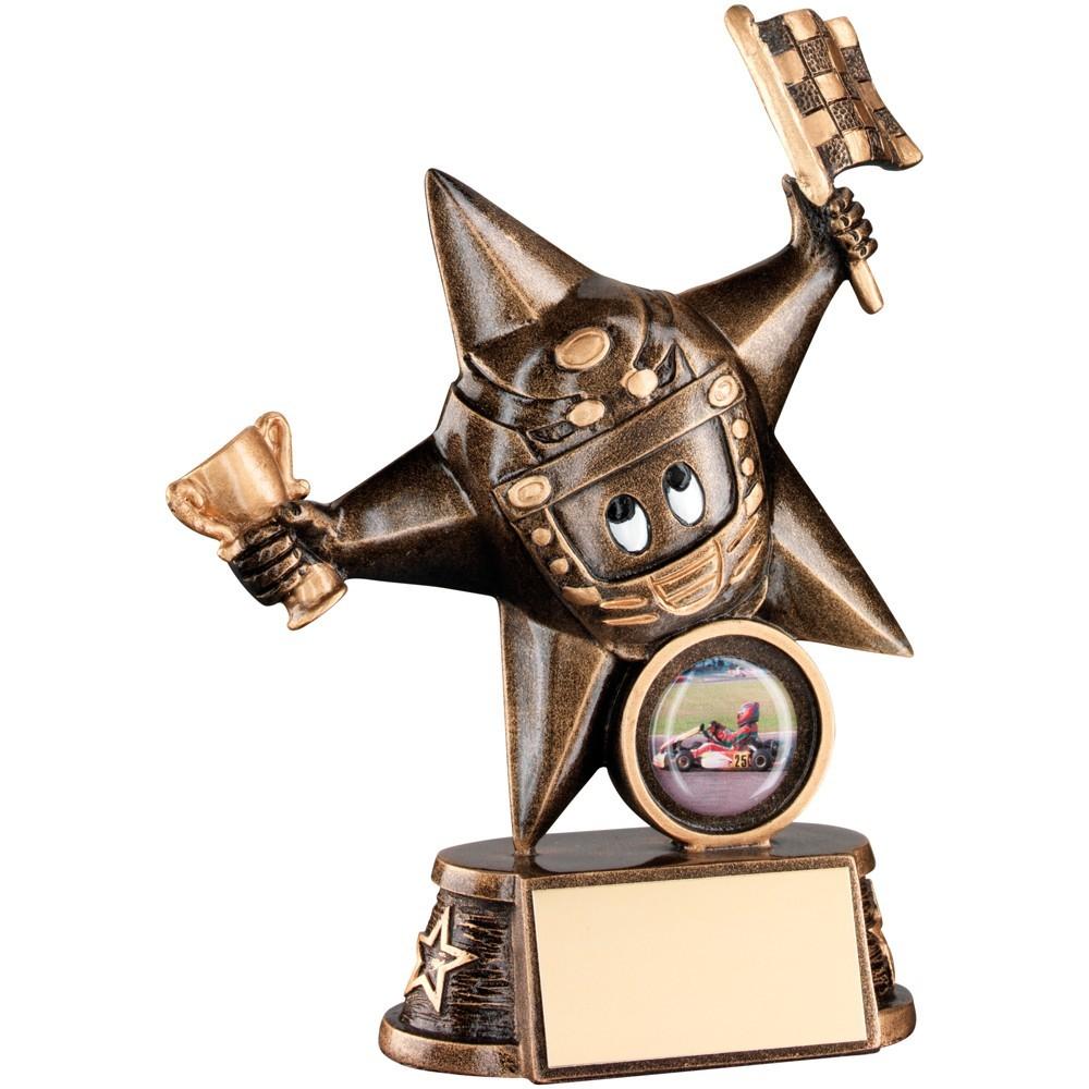 Bronze And Gold Resin Motor Sport 'Comic Star' Figure Trophy