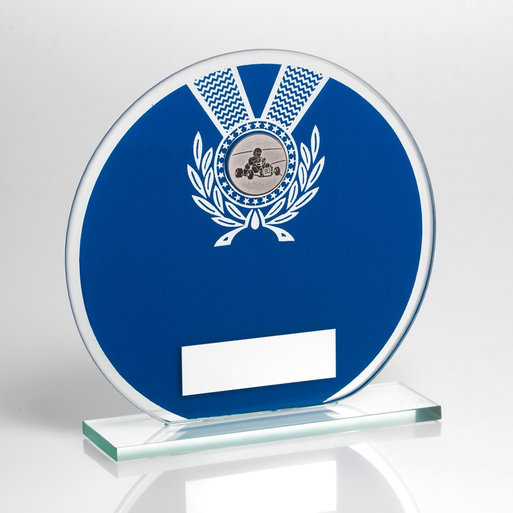 Jade Glass Round Plaque Blue And Silver With Motor Sport Insert Trophy