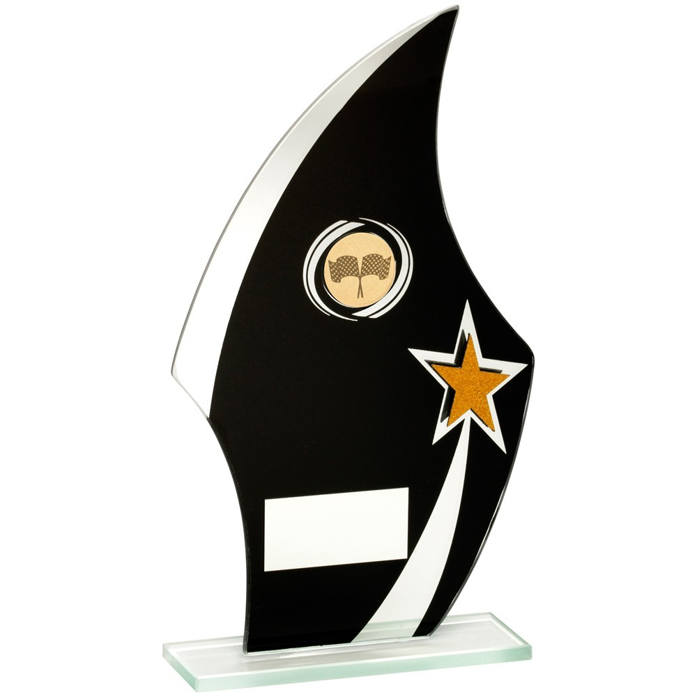 Jade Glass Flame Plaque Black, Silver And Gold With Motor Sport Insert Trophy