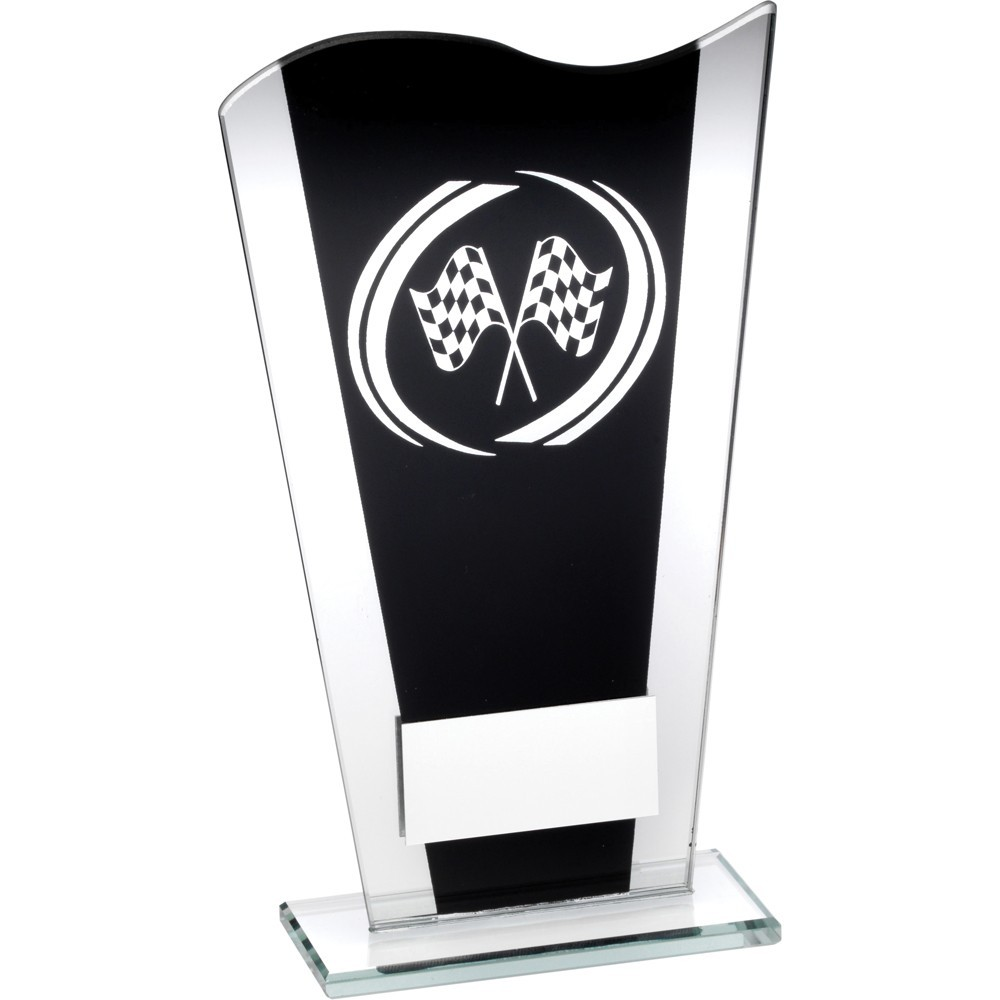 Black And Silver Printed Glass Plaque With Silver Motor Sport Swirl Trophy