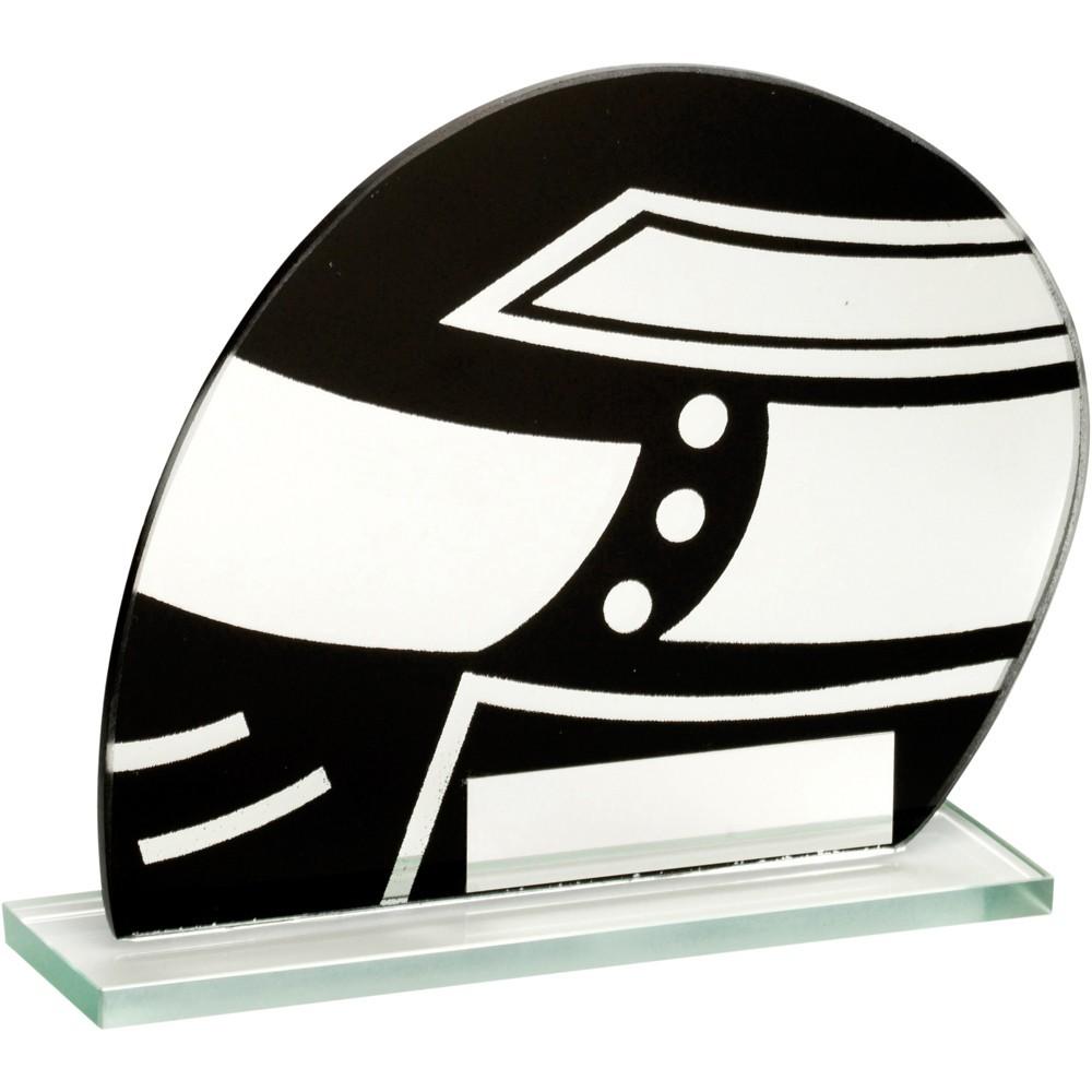 11cm Jade Glass Blk & Silv Motor Sport Helmet Trophy - 4.25In