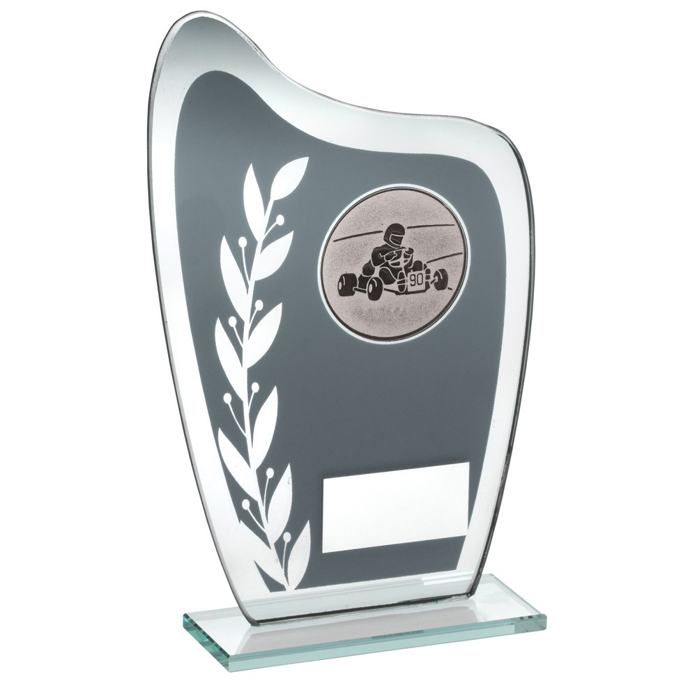 16.5cm Grey & Silver Glass Plaque With Go-Kart Insert Trophy - 6.5In