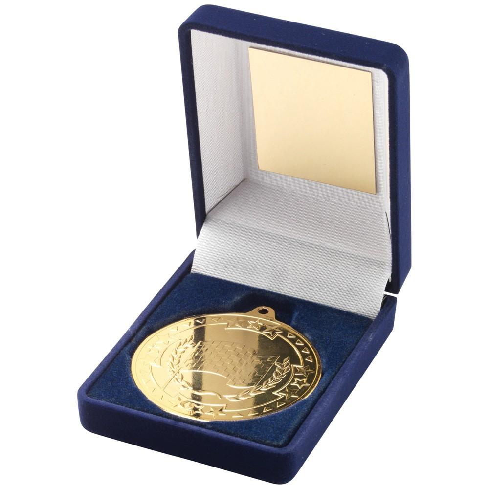 9cm Blue Velvet Box & Motor Sport Medal - Gold 3.5In