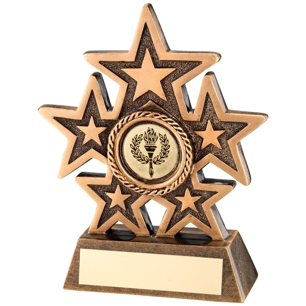 Bronze And Gold 5 Star Holder Trophy