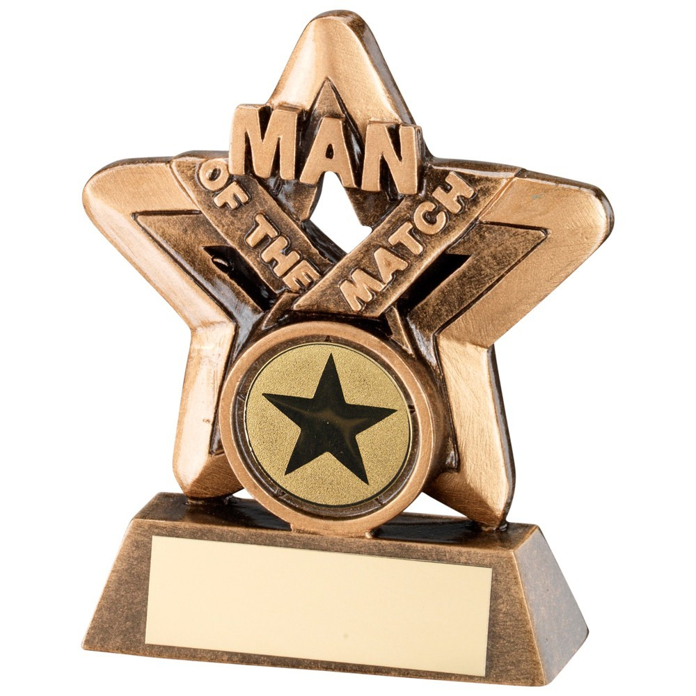 9.5cm Bronze & Gold Man Of The Match Mini Star Trophy